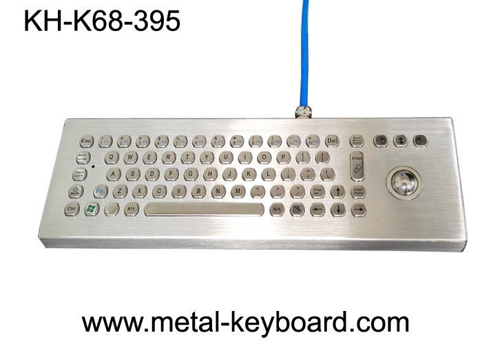 Waterproof Desktop Metal Computer Keyboard with Laser Trackball , Rugged Keyboard