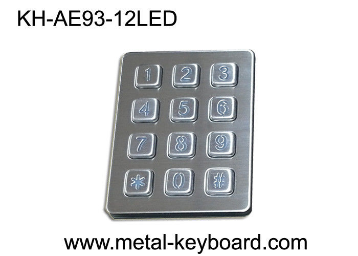 Self - service Kiosk  Digital Metal keypad Vandal Proof 12 Keys 3x4