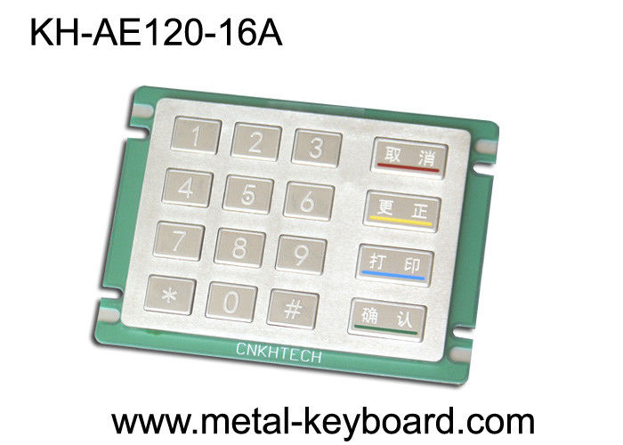 Anti - rusty Stainless Steel Numeric Panel mount Keypad in 4x4 Matrix 16 Keys
