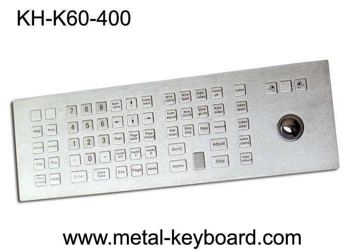 Custom Rugged Industrial Kiosk Keyboard with Trackball 60 Keys Water Resistant