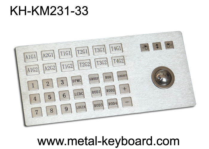 Ruggedized Metal Panel Mount Industrial Keyboard with Trackball