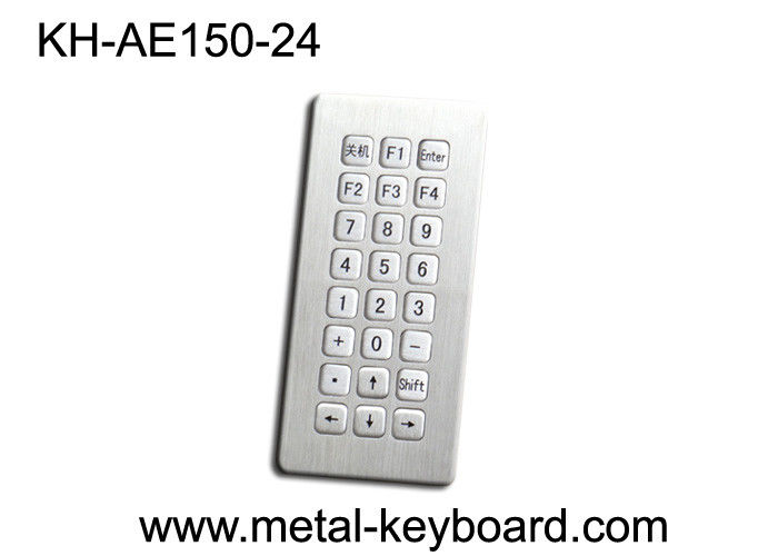 Vandal Proof Rugged Entry / Kiosk Metal Keypad In 24 Button Keys , High Performance